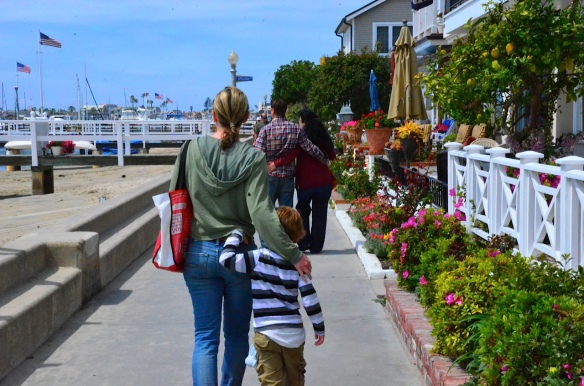 Back outside Disneyland, Martin and I strolled Balboa Island with Rudy and his wife (in front of us). I think we're imitating them.