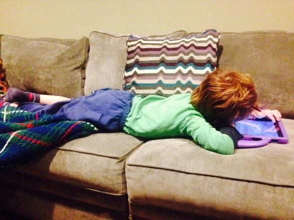 Martin, sick but managing his iPad.