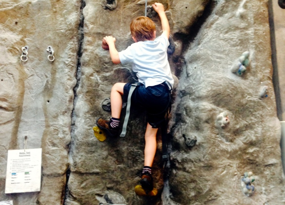Martin rock climbing at a birthday party, July 2014.