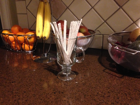 Oranges, bananas, apples, avocados, onions, and mommy sticks. That's the kitchen counter in our ASD household.