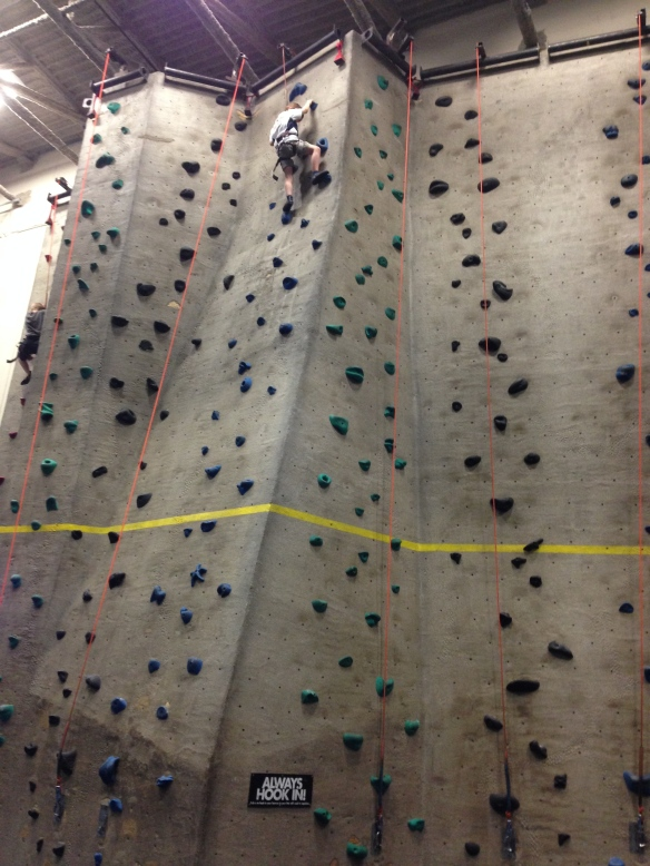 Martin, rock climbing this week. Honestly, he's fine in the air. (Wink and nod.)