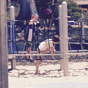 Poor photo quality, because I had to zoom in from afar. Main beach park, Laguna Beach. Martin is on the right. His new friend is behind him.