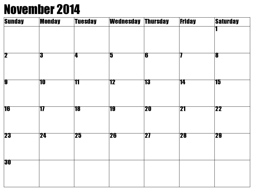 Blank Calendar November 2013